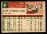 1959 Topps #44  Vito Valentinetti  Back Thumbnail