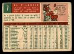 1959 Topps #7  Al Pilarcik  Back Thumbnail