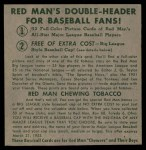 1952 Red Man #21 AL x Vern Stephens  Back Thumbnail
