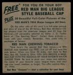 1954 Red Man #9 NL x Del Rice  Back Thumbnail