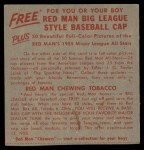1955 Red Man #19 NL x Duke Snider  Back Thumbnail
