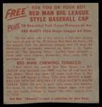1955 Red Man #12 NL x Hoyt Wilhelm  Back Thumbnail