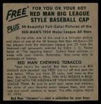 1954 Red Man #18 AL x Bob Porterfield  Back Thumbnail
