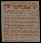 1955 Red Man #20 NL x Frank Thomas  Back Thumbnail