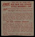 1955 Red Man #19 NL x Duke Snider  Back Thumbnail