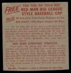 1955 Red Man #10 NL x Warren Spahn  Back Thumbnail