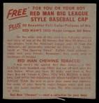 1955 Red Man #9 NL x Bill Sarni  Back Thumbnail