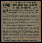 1954 Red Man #13 AL x Mickey Vernon  Back Thumbnail