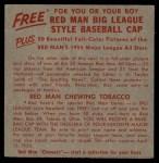 1955 Red Man #13 NL x John Antonelli  Back Thumbnail