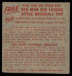 1955 Red Man #12 NLx Hoyt Wilhelm  Back Thumbnail