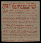 1955 Red Man #10 NL x Warren Spahn  Back Thumbnail