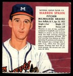 1955 Red Man #10 NL x Warren Spahn  Front Thumbnail