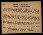 1941 Gum Inc. Uncle Sam Home Defense #53   Engineers Building Bridge Back Thumbnail