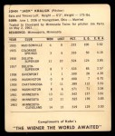 1964 Kahn's  Jack Kralick  Back Thumbnail