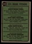 1974 Topps #599 ^LG^  -  Dave Freisleben / Ron Diorio / Frank Riccelli / Greg Shanahan Rookie Pitchers   Back Thumbnail