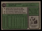 1974 Topps #115  Willie Horton  Back Thumbnail