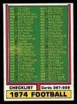 1974 Topps #498   Checklist 397-528 Front Thumbnail