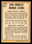 1968 Topps #409   -  Frank Peters / Ron Stone Orioles Rookies Back Thumbnail