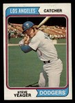 1974 Topps #593  Steve Yeager  Front Thumbnail