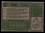 1974 Topps #615  Johnny Jeter   Back Thumbnail