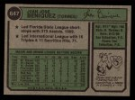 1974 Topps #647  Juan Beniquez  Back Thumbnail