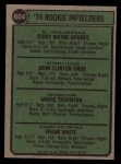 1974 Topps #604   -  Terry Hughes / John Knox / Andy Thornton / Frank White Rookie Infielders   Back Thumbnail
