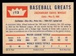 1960 Fleer #12  Zach Wheat  Back Thumbnail