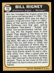 1968 Topps #416  Bill Rigney  Back Thumbnail