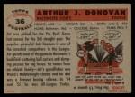 1956 Topps #36  Art Donovan  Back Thumbnail