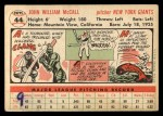 1956 Topps #44  Windy McCall  Back Thumbnail