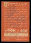 1952 Topps Look 'N See #65  Mahatma Ghandi  Back Thumbnail