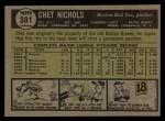 1961 Topps #301  Chet Nichols  Back Thumbnail
