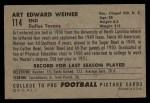 1952 Bowman Large #114  Art Weiner  Back Thumbnail