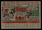 1956 Topps #181  Billy Martin  Back Thumbnail