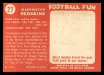 1958 Topps #27   Redskins Team Back Thumbnail