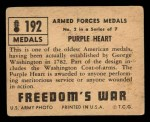 1950 Topps Freedoms War #192   Purple Heart  Back Thumbnail
