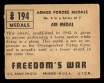 1950 Topps Freedoms War #194   Air Medal  Back Thumbnail