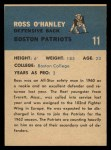 1962 Fleer #11  Ross O'Hanley  Back Thumbnail
