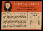 1961 Fleer #36  Clark Griffith  Back Thumbnail