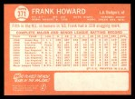 1964 Topps #371  Frank Howard  Back Thumbnail