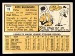 1963 Topps #19  Pete Burnside  Back Thumbnail