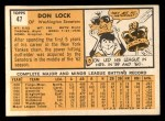 1963 Topps #47  Don Lock  Back Thumbnail