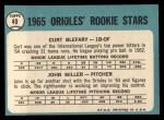 1965 Topps #49   -  Curt Blefary / John Miller Orioles Rookies Back Thumbnail