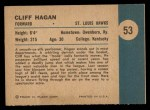 1961 Fleer #53   -  Cliff Hagan In Action Back Thumbnail