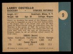 1961 Fleer #9  Larry Costello  Back Thumbnail