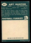 1960 Topps #67  Art Hunter  Back Thumbnail