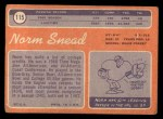 1970 Topps #115  Norm Snead  Back Thumbnail