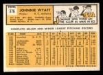 1963 Topps #376 ^COR^ John Wyatt  Back Thumbnail