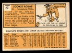 1963 Topps #221  Cookie Rojas  Back Thumbnail
