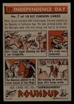 1956 Topps Round Up #77   -  Kit Carson Independence Day Back Thumbnail